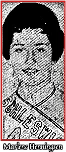 Portrait image of Marlene Henningsen, Schleswig High School (Iowa) girls basketball player. From the Des Moines Tribune, JAnuary 21, 1963.
