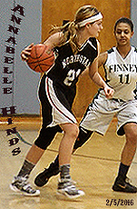 Northstar Christian Academy Knights girls basketball player, in black uniform, number 21, dribbling ball against Finney High on 2/5/2016 (New York)