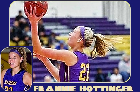 Images of Frannie Hottinger, Cretin-Derham Hall High School (Minnesota) girls basketball player going up for lay-up to the left in side view. Blue uniform #22, plus portrait.