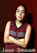 Image of Janae Gonzales, Sierra Linda High School (Phoenix) basketball player in black uniform with arms crossed.
