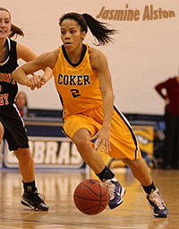 Photo of Jasmine Austin, Coker College Cobra basketball player, in game action against Lee-McRae College, February 26, 2011, at Banner Elk, North Carolina.