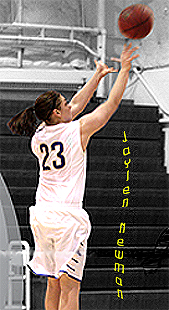 Jaylen Newman, Trinity Bible College women's basketball player, number 23, in white uniform. Picture taken from side showing her shooting a jump shot with her pony tail flying out behind her.