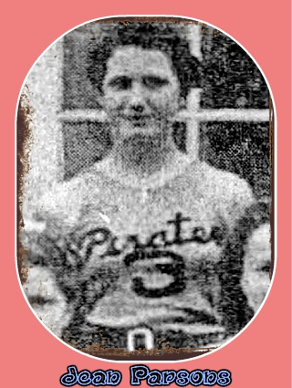 Image from a team photo from 1938-39 season of Idaho girls basketball player on the Hagerman High School basketball team, number 3, wearing a Pirates jersey (in script).