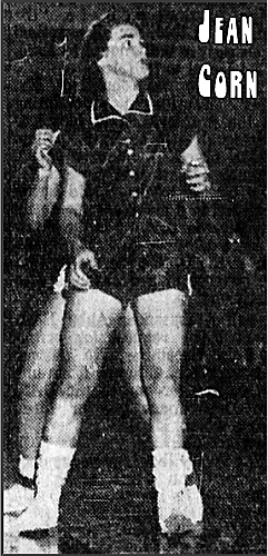 Image of Jean Corn on the basketball court for the North Buncombe High School girls basketball team in North Carolina. From a image in The Asheville Citizen, March 2, 1956