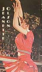 Jeanette Olson, Everly Cattlefeeder basketball player shooting shot, side view/ From Sports Illustrated 1969.