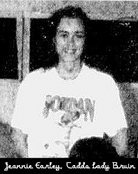 Image of Jeannie Earley, Caddo High School Lady Bruin basketball player (Oklahoma), cropped from team photo, from The Durant Daily Democrat. Durant, Oklahoma, November 10, 1991.