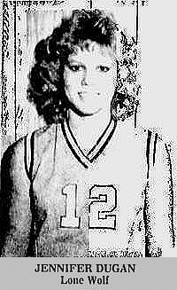Photo of Jennifer Dugan, Lone Wolf High School basketball player. From The Altus Times, Altus, Oklahoma, MArch 20, 1988.