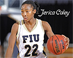 Image of Florida International University's women's basketball player, Jerica Coley, number 22, in action.