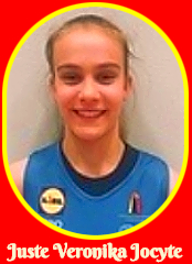 Portrait image of Lithuania girls basketball player, Juste Veronika Jocyte, in blue uniform. In 2016-17, she played for V.Knasiaus KM in the U12 Children's Cgampionships.