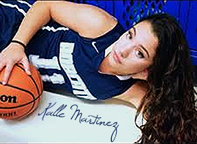 Image of Kalle Martinez, Bay City John Glenn High School girls basketball player, in Bobcats blue uniform #11. Reclining with basketball.