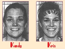Twin sister women's basketball players, 5 foot-4 inch sophomores. at Lake Land Community College, Illinois, Two portrait black and white images from the Journal Gazette, Mattoon, Illinois, March 20, 2001.