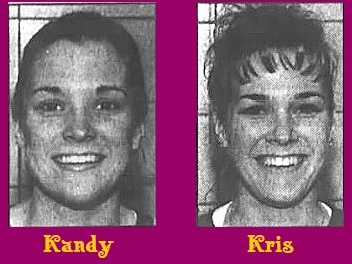 Black and white portrait images of twin sisters, Kandy and Kris Lindsey, women's basketball players for Lake Land Community College in Illinois (5 foot-4 inch sophomores). From the Journal Gazette, Mattoon, Illinois, March 20, 2001.
