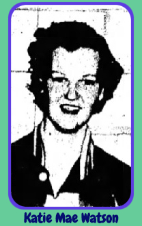 Black and white portrait image of girls basketball player, Katie Mae Watson, Osceola High School, Arkansas. From the May 30, 1953 edition of The Courier News, Blytheville, Arkansas.