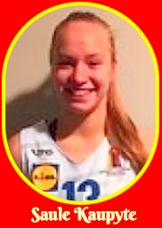 Portrait image of Lithuanian girls basketball player, Saule Kaupyte, number 13 on the 2014-15 V.Knasiaus team.
