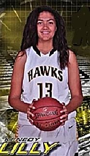 Image of Kenedy Lilly, girls basketball player for the El Dorado High School Golden Hawks in California (2016-17), posing in white HAWKS uniforn #13.