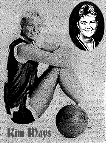 Black and white images of Kim Mays, Knox Central (Barourville, Kentucky) High School girls basketball player, 1990, side profile, sitting with knees up, in uniform, with basketball, and portrait.