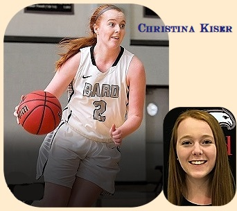 Images of Christina Kiser, women's basketball player for Bard College, shown in white uniform, grey lettering, number two, dribbling the basket, driving to our right and a portrait shot of her.