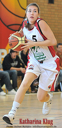 Photo (cropped) of Katharina Klug from March 16, 2010 game in which she scored 49 points in a 115-49 victory for TSV N�rdlingen over TuS Bath Aibling, in a Bezirksliga Ober Bayern U15 game (Upper Bavaria District League Under-15). Photo by Jochen Aumann, used by permission. Johannes-Mueller-Stra�e 19, 86720 Noerdlingen