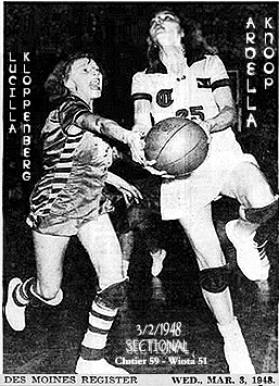 Action photo from the 3/2/1948 sectional game between Clutier High and Wiota High, won by Clutier, won by Clutier 59 to 51. Pitured is Clutier's Ardella Knoop, number 25, going up for a layup, being guarded by Wiota's Lucilla Kloppenberg.