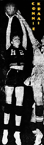 Image of Iowa girls basketball player, Connie Kraai, taking a jump shot in #2 Holstein uniform, from the Sioux City Journal, , February 28, 1965.