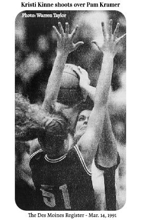 Photo by Warren Taylor, from The Des Moines Register, March 14, 1991, of Kristi Kinne, girls basketball player for Jefferson-Scranton High School in Iowa, shooting over Central City's Pam Kramer, number 51, during 3/13/1991 first round state playoff game in which she scored 57 points.