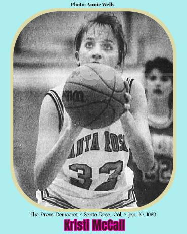 Photo of California girls basketball player, Kristi McCall, Santa Rosa High School, shooting a foul shot in white uniform number 32. From The Press Democrat, Santa Rosa, California, January 10, 1989. Photo: Annie Wels.