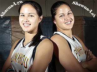 Photo of Shaena-Lyn and Shawna-Lei Kuehu, Punahou High girls identical twin basketball players, posing back-to-back. (Hawaii)