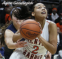 Kysre Gondrezick, Benton Harbor High School (Michigan) girls basketball player, number 2, driving upcourt, in photo from 2014-15.