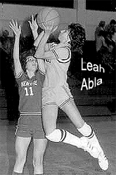 Leah Abla, Manistee High (Michigan) basketball player, shooting a jump shot.