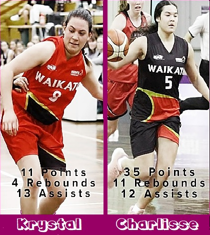Images of action shots of the Leger-Walker sisters, women's basketball players on the Waikato Wizards. in the WBC [Women's Basketball Championship], Krystal in red uniform, number 9, Charlisse in black uniform, number 5.