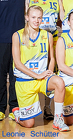 Leonie Sch�tter, Phoenix Ladies (TSV Hagen 1860) U17 basketball player, number 11, kneeling. (cropped from team photo).