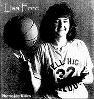 Picture of Lisa Fore, Bell High Bulldog basketball player, posing, in sweatshirt, with basketball. From The Gainesville Sun, Gainesville, Florida, January 30, 1990. Photo by Jon Killen.