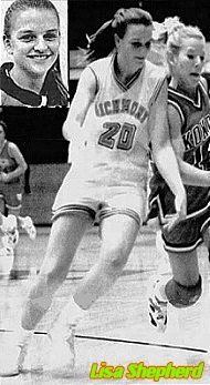 Images of state of Indiana girls basketball player, Lisa Shepherd, of Richmond High School. Image from the Palladium-Item, Richmond, Indiana, Dec. 5, 1993, a photo by Mame Burns, of Shepherd , in white uniform #20, with basketball, driving around Komomo High's Shannon Lovegrove, as well as a portrait piture from same newspaper from March 27, 1994.
