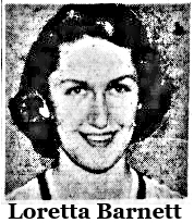 Portrait  of Loretta Barnett, Valley West Des Moines girls basketball player (Iowa). From The Des Moines Register, December 3, 1952.