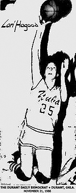 Picture of Lori Hagood, Yuba High School (Oklahoma) basketball player, going up for a shot, in air with legs bent up and arm with ball stretched upward. From The Durant Daily Democrat, Durant, Oklahoma, November 21, 1986