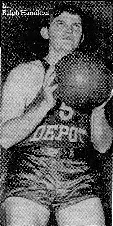 Image of Lt. Ralph Hamilton, Army Service Forces Officers basketball player, wearing a #5 Depot uniform, shooting a foul shot to our right, from The Atlanta Constitution, Feb. 8, 1946.
