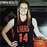 Picture of Emma Wolfe, Bishop Luers basketball player, posing, holding basketball, as sophomore, number 14, red on black uniform.