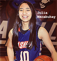 Julia Macabuhay, California girls basketball player, 2018, for La Salle High, Pasadena, posing in blue uniform, with basketball, number 10.