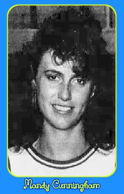 Image of Mandy Cunningham, girls basketball player for Illinois high school Red Hill Lady Salukis from Bridgeport. From The Vincennes Sun-Commercial, Vincennes, Indiana, March 25, 1990.