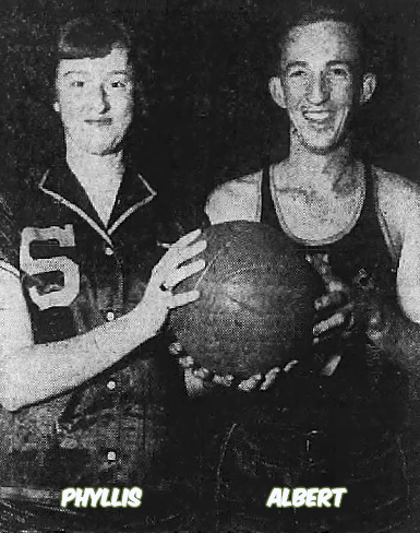 Image of siblings, Phyllis May and her brother, Albert May, high school basketball players for the Spring Hope Raiders of North Carolina, facing camera, both holding the basketball. From The Rocky Mount Sunday Telegram, February 28, 1951