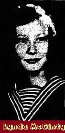 Portrait of North Carolins girls basketball player, Lynda McGinty of Belmont High School. The Red Raiderette image is from the Gastonia Gazette, Gastonia, North Carolina, January 24, 1956.