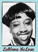 Black and white portrait of LaWana McLean, a Delaware girls high school basktball player at Wilmington High School. From The News Journal, Wilmington, Delaware, February 25, 1992.