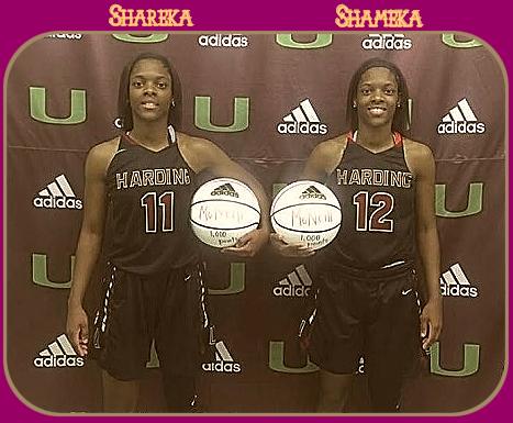Harding University High School (North Carolina) girls basketball, twins Shareka (#11) and Shameka McNeill (#12), class of 2017,, posing with two white basketballs,.