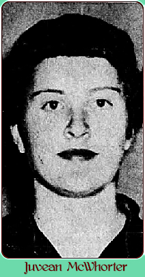 Portrait image of Texas girls basketball player in 1956, for Collinsville High School. From The Austin American, Austin, Texas, March 11, 1956.