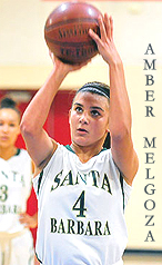 Image of Amber Melgoza, girls basketball player for Santa Barbara High, number 4, shooting a foul shot
