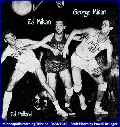 Image from the Minneapolis Morning Tribune, March 24, 1949 of the March 23, 1949 quarterfinal playoff game, showing Ed Mikan of the Chicago Stags, in the center, trying to fend off his brother, George Mikan (to our right) and Ed Pollard (to our left), of the Minneapolis Lakers.