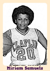 Miriam Walker-Samuels image in Claflin College #20 uniform, holding basketball.
