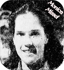 POrtrait of Iowa girls basketball player for Assumption High of Davenport. From The Des Moines Register, February 2, 1982. Photo by Cathy Acherman.