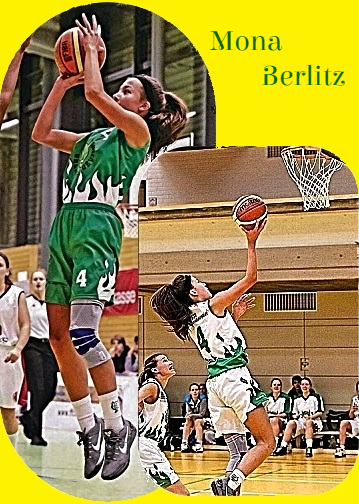 Two images of Bavarian Germany U16 Bezirksoberliga basketball player, Mona Berlitz, number 4. Both going up for shots at basket, one in green uniform, one with white.