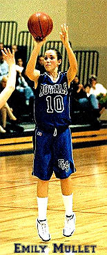 Image of Emily Mullet, Eastern Mennnite College basketball player, in blue Royals uniform, number 10, shooting a jump shot.